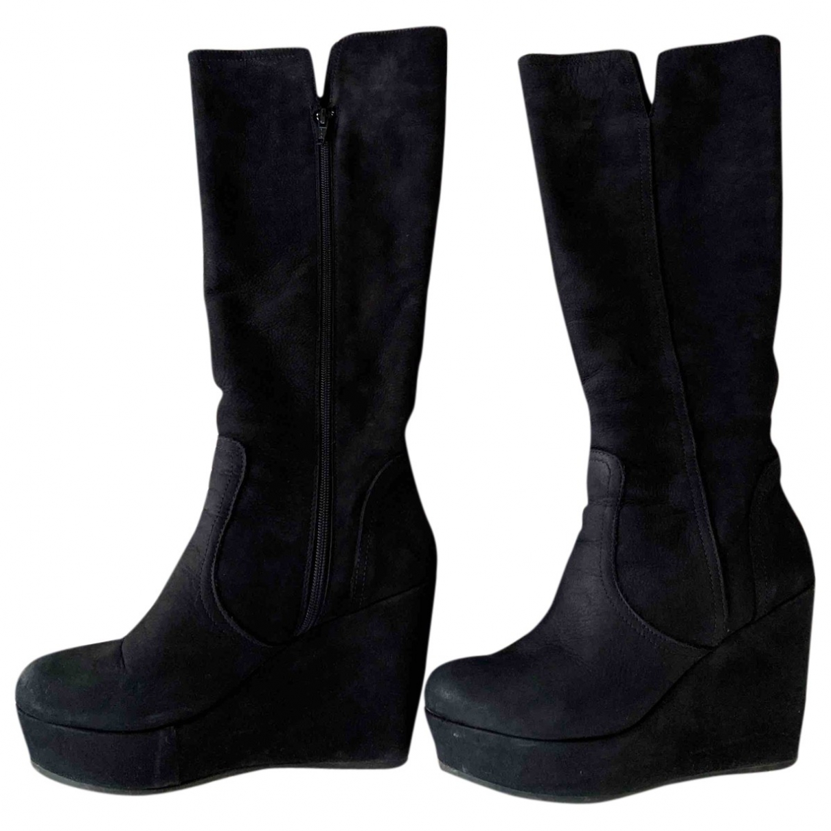 Non Signé / Unsigned \N Black Suede Boots for Women 40 EU
