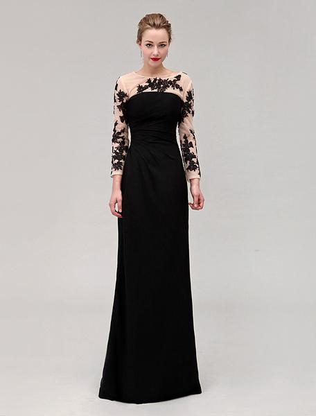 Milanoo Black Wedding Dress Jewel Neck Pleated Floor-length Elastic Silk Dress