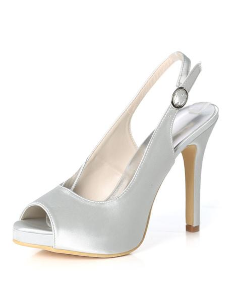 Milanoo Purple Mother Shoes Satin Peep Toe Slingbacks Wedding Shoes High Heel Wedding Guest Shoes