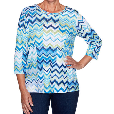 Alfred Dunner Vacation Mode-Womens Round Neck 3/4 Sleeve T-Shirt, X-large , Blue