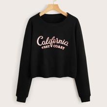 Pullover mit Buchstaben Grafik und rundem Kragen
