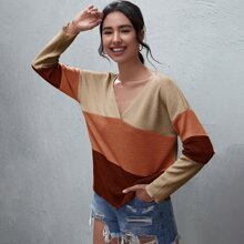 V-neck Color-block Drop Shoulder Tee