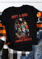 Halloween Just A Girl Horror Movie T-Shirt Tee - Black
