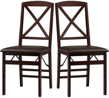 Triena Collection 01826ESP-02-AS-U Folding Chair with Rubberwood Frame and Vinyl Upholstery in Dark Brown