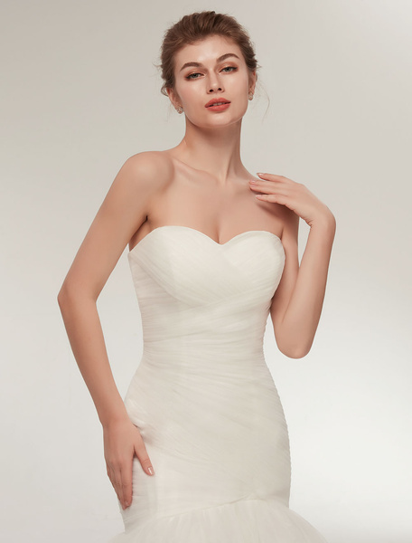 Milanoo Mermaid Wedding Dresses Strapless Ivory Trumpet Bridal Dress Sweetheart Neckline Tulle Pleated Wedding Gowns With Train