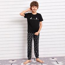 Boys Cartoon Graphic Top & Pants PJ Set