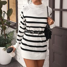 Button Side Striped Sweater Dress Without Belt