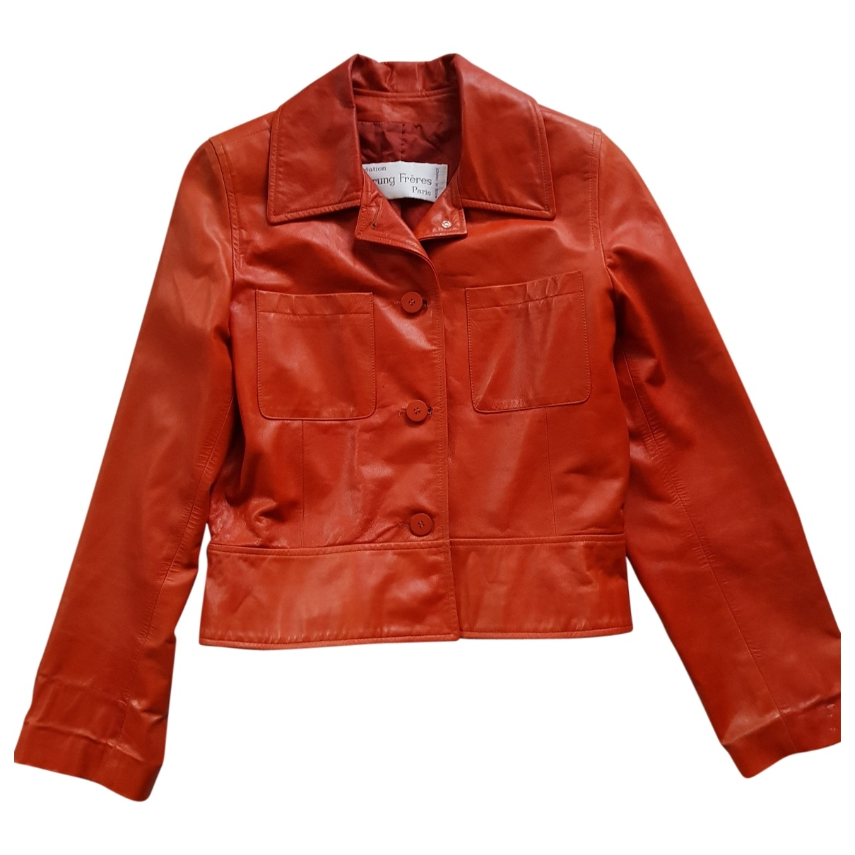 Sprung Frères \N Orange Leather jacket for Women 40 FR