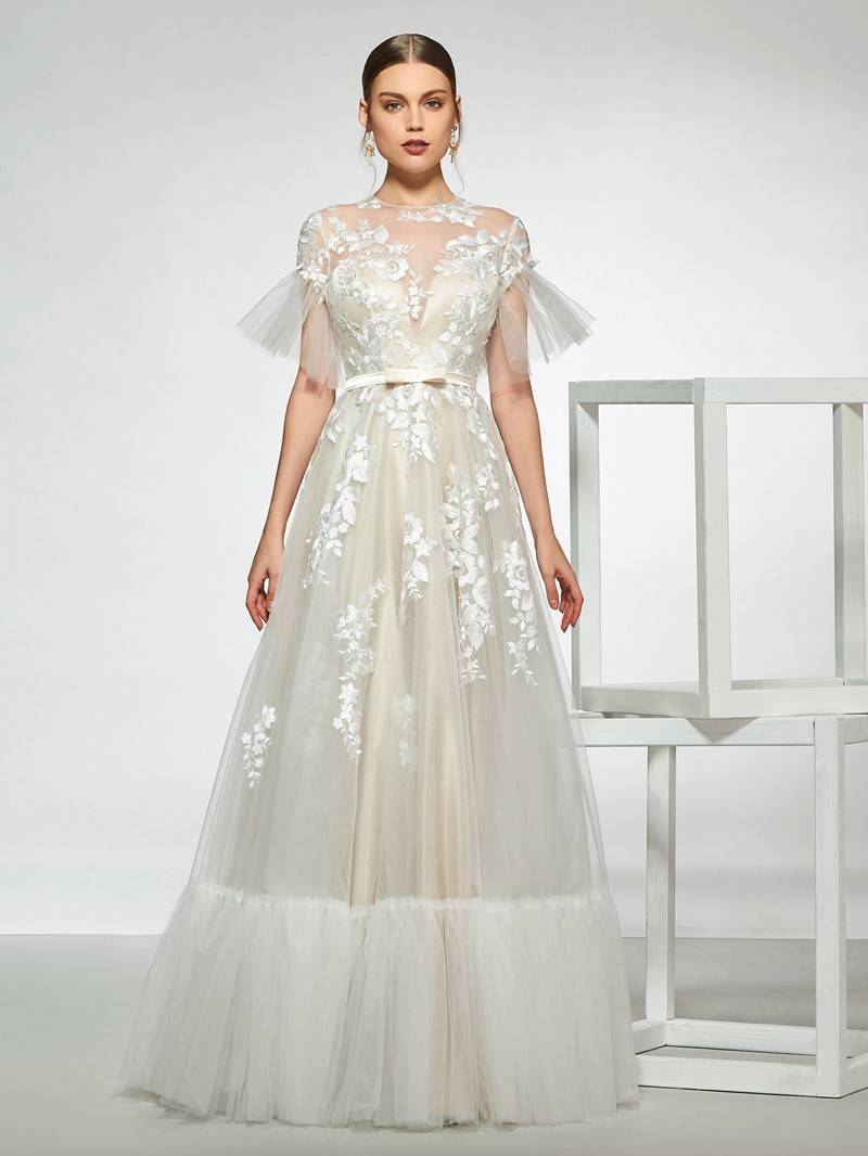 Ericdress Short Sleeves Appliques Wedding Dress