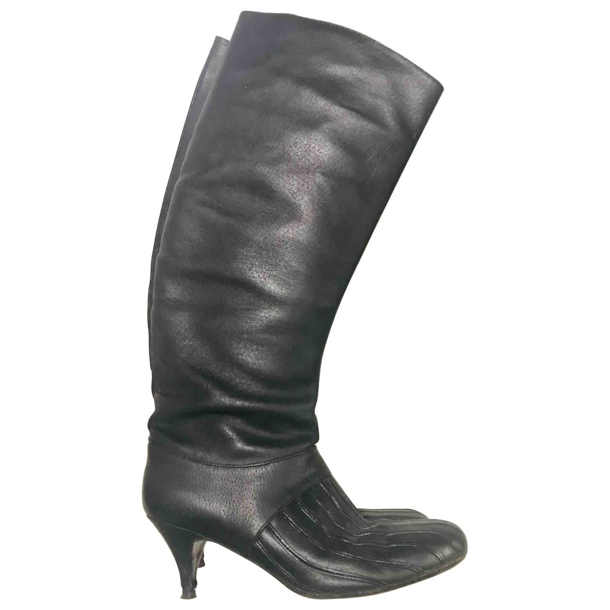 Premiata - Bottes   pour femme en cuir - noir