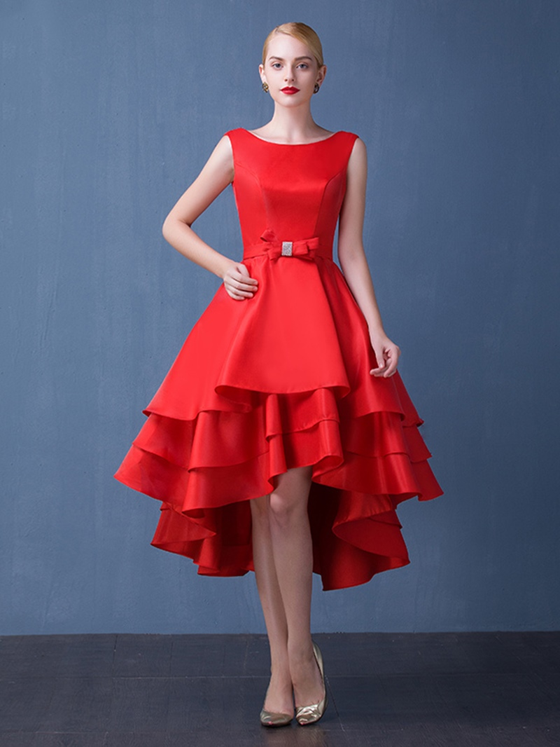 Ericdress A-Line Asymmetrical Length Bowknot Cocktail Party Dress
