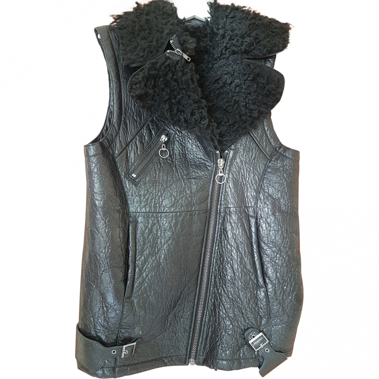 H&m Conscious Exclusive \N Black Leather Leather jacket for Women 36 FR