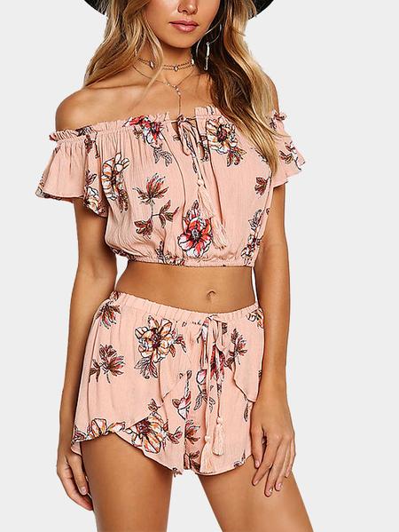 Yoins Pink Floral Crepe Off Shoulder Crop Top & Shorts