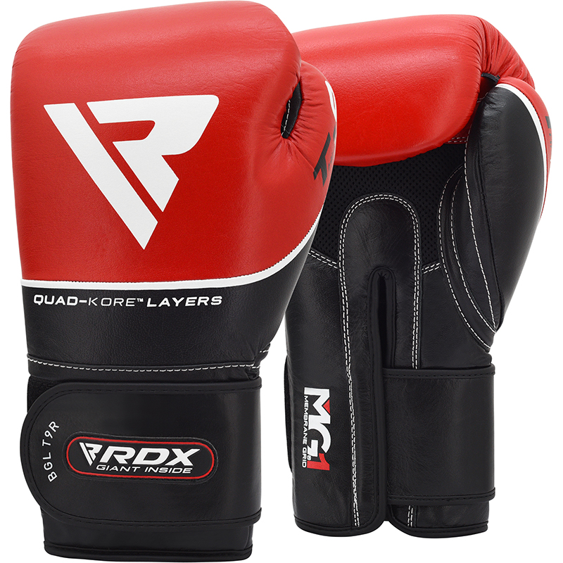 RDX T9 Leather Red 16oz Boxing Training Gloves Black Hook and Loop Men and Women Punching Muay Thai Kickboxing