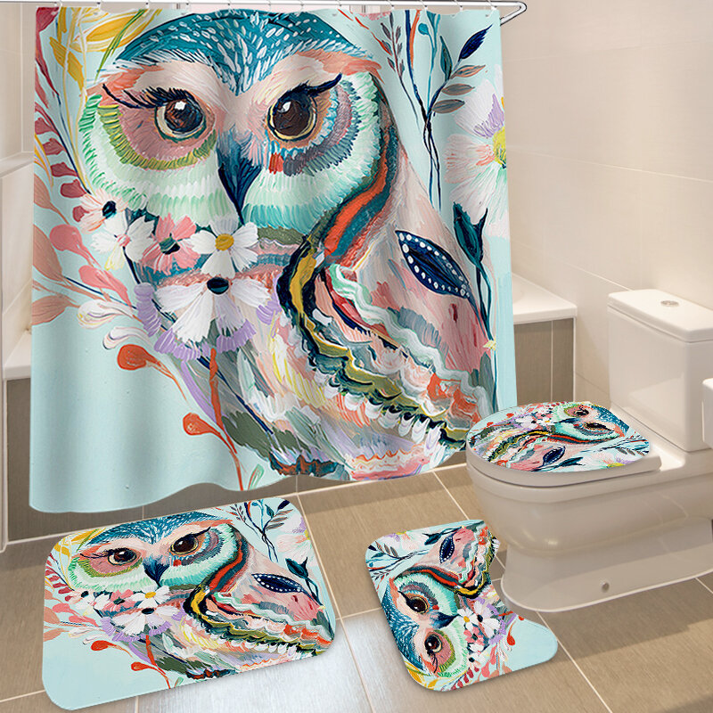 Animals Style Bathroom Curtain Printed Shower Curtains Bath Products Bathroom Decor with Hooks Waterproof Polyester Clot