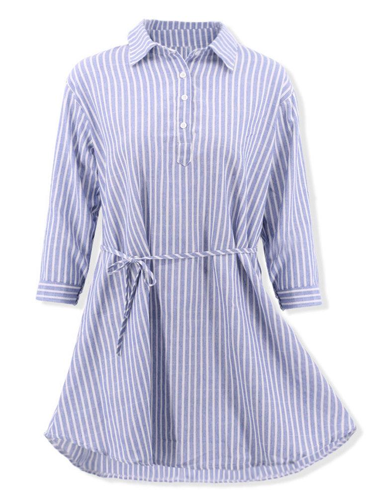 Casual Striped Lapel Long Sleeve Dress for Women