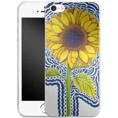 Apple iPhone 5s Silikon Handyhuelle - Sunflower Drawing von Kaitlyn Parker