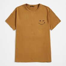 Camiseta con bordado de sonrisa
