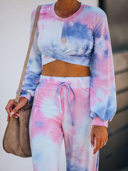 Milanoo Women\'s Loungewear 2-Piece Pink Long Sleeve Jewel Neck Polyester 3D Print Outfit