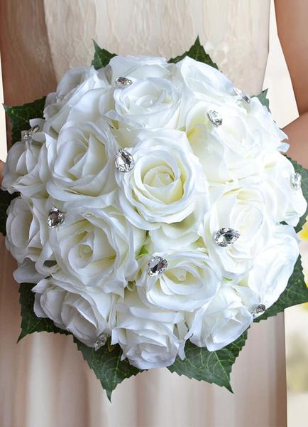 Milanoo Wedding Flowers Bouquet White Rhinestones Beaded Hand Tied Ribbons Bow Silk Flowers Bridal Bouquet