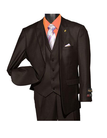 Falcone MenÕs Fashion Brown Single Breasted 2 Button Vested Suit