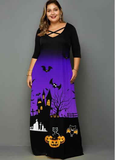 Halloween Print Pocket Plus Size Maxi Dress - 1X