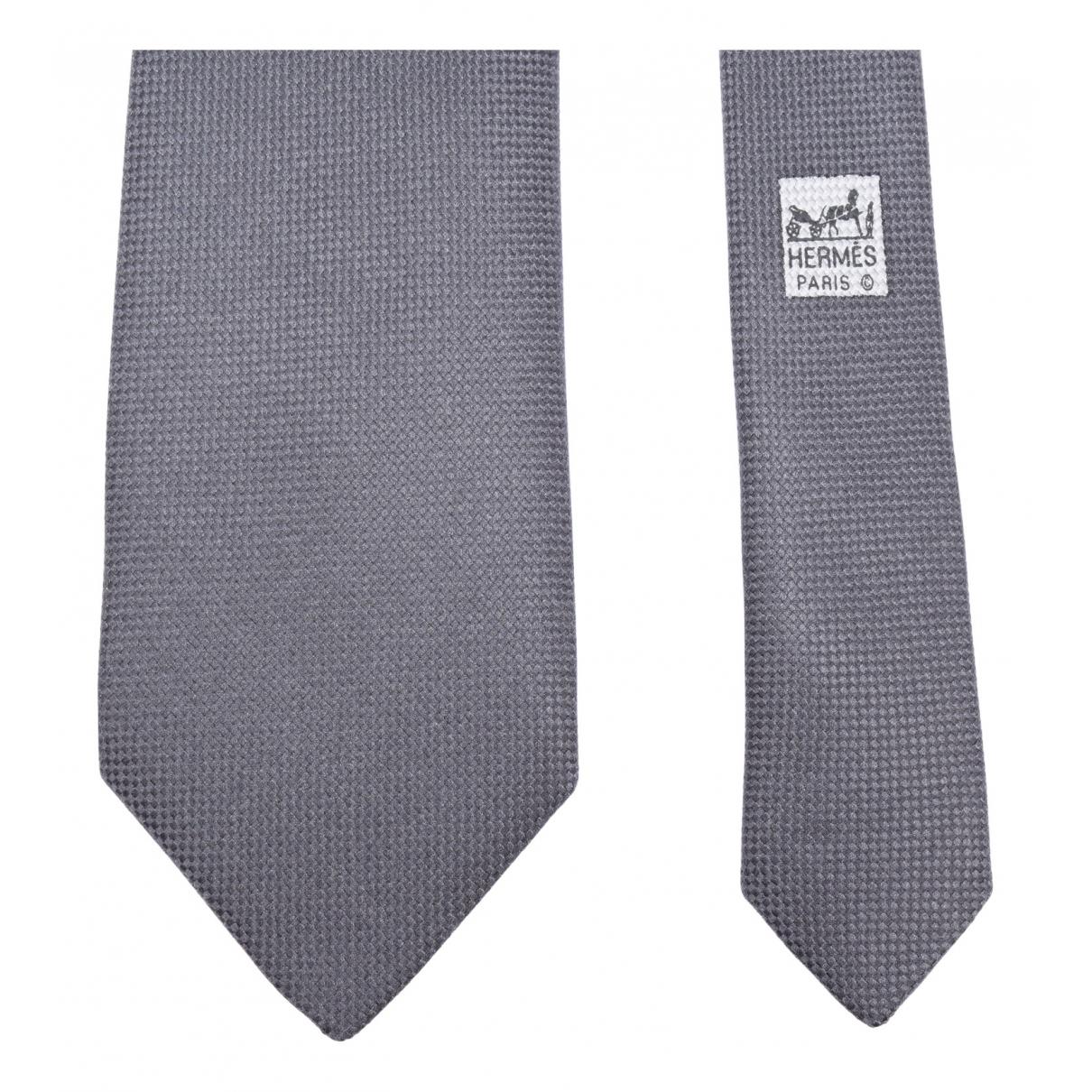 Hermes \N Krawatten in  Grau Seide