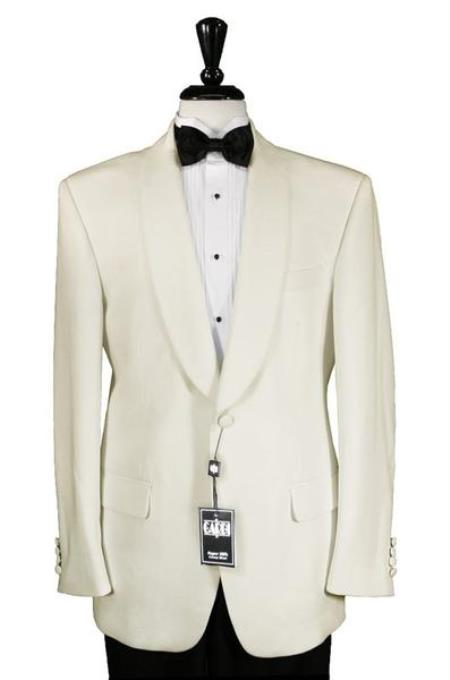 Men's Ivory 1 Button Shawl Dinner Jacket
