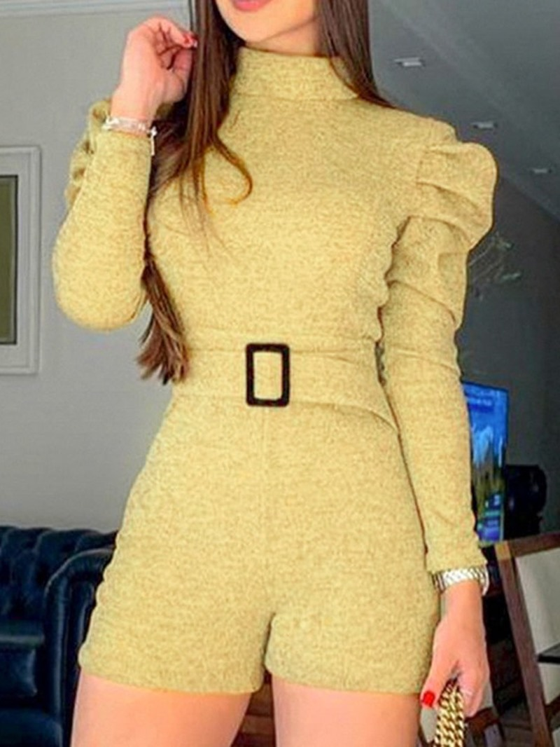 Ericdress Plain Shorts Skinny Long Sleeve Romper