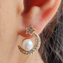Rhinestone Star Moon Stud Earrings