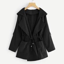 Plus Drawstring Waist Hooded Coat