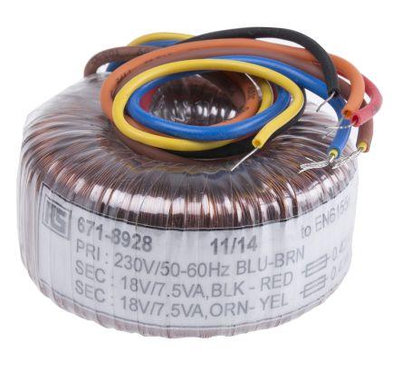 RS PRO 230V ac, 2 x 18V ac Toroidal Transformer, 15VA 2 Output