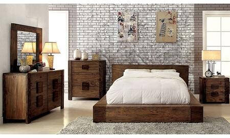 Janeiro Collection CM7628KBDMCN 5-Piece Bedroom Set with King Bed  Dresser  Mirror  Chest and Nightstand in Rustic Natural Tone