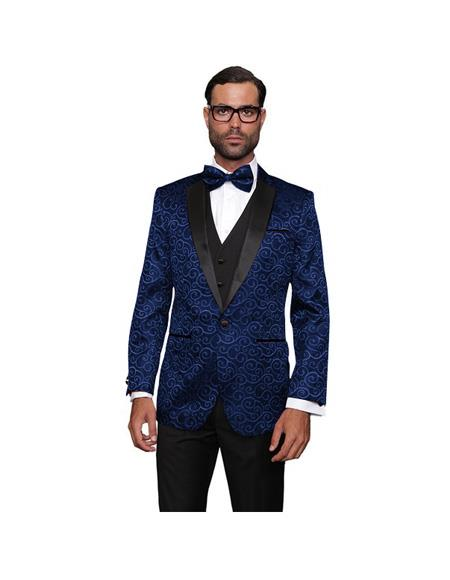 Wool One Button Navy Suit