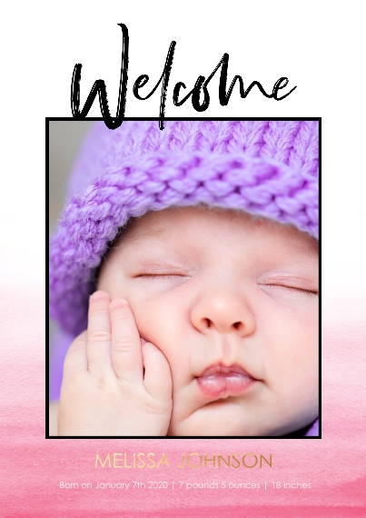 Baby Set of 20, Premium 5x7 Foil Card, Card & Stationery -Welcome Gradient Pink