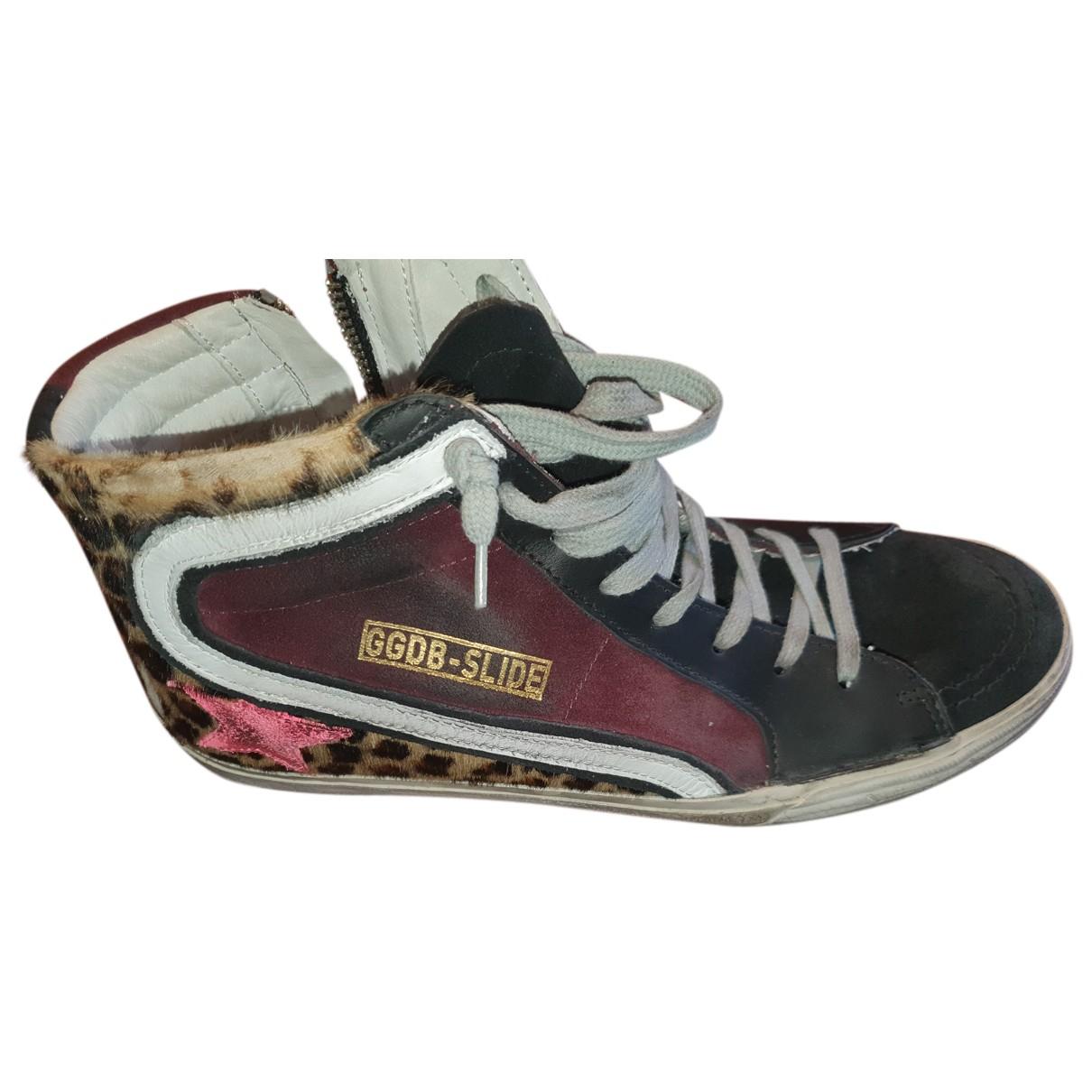 Golden Goose Slide Sneakers in  Schwarz Kalbsleder in Pony-Optik