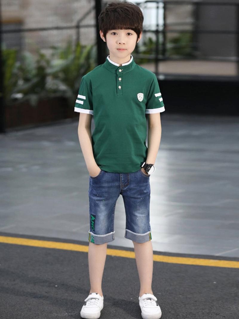 Ericdress Stripe Plain T Shirts & Denim Shorts Boy's Outfits
