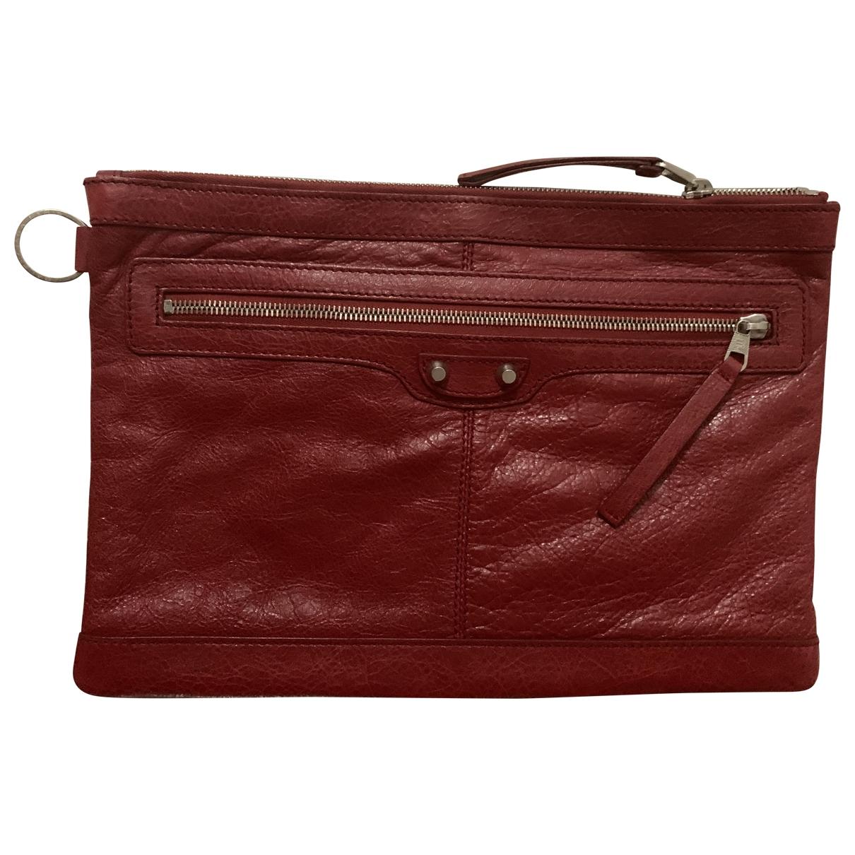 Balenciaga - Pochette   pour femme en cuir - rouge