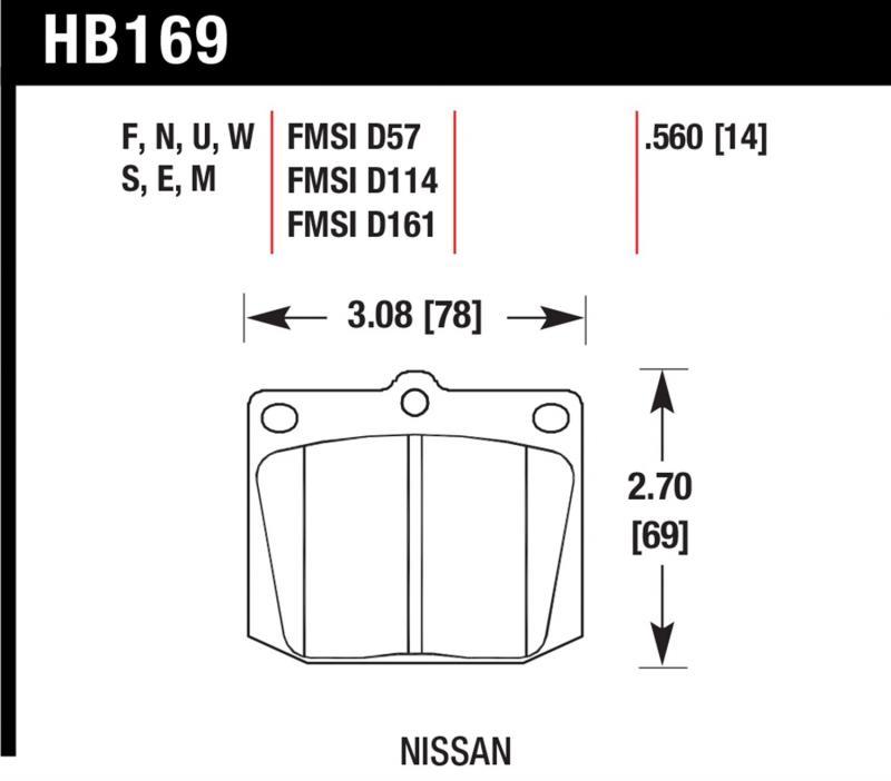 Hawk Performance HB169W.560 Disc Brake Pad Toyota Pickup Front 1976-1983