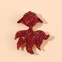 Broche con diseño de pescado de color con diamante de imitacion