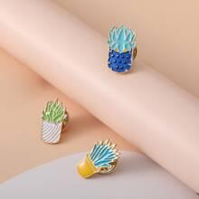3 Stuecke Brosche mit Pflanzen Design