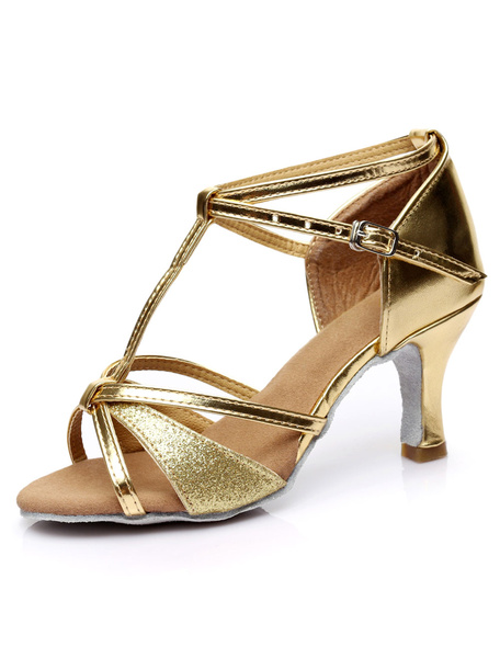 Milanoo Glitter Ballroom Shoes Black Open Toe T Type Correa de tobillo Latin Dance Shoes