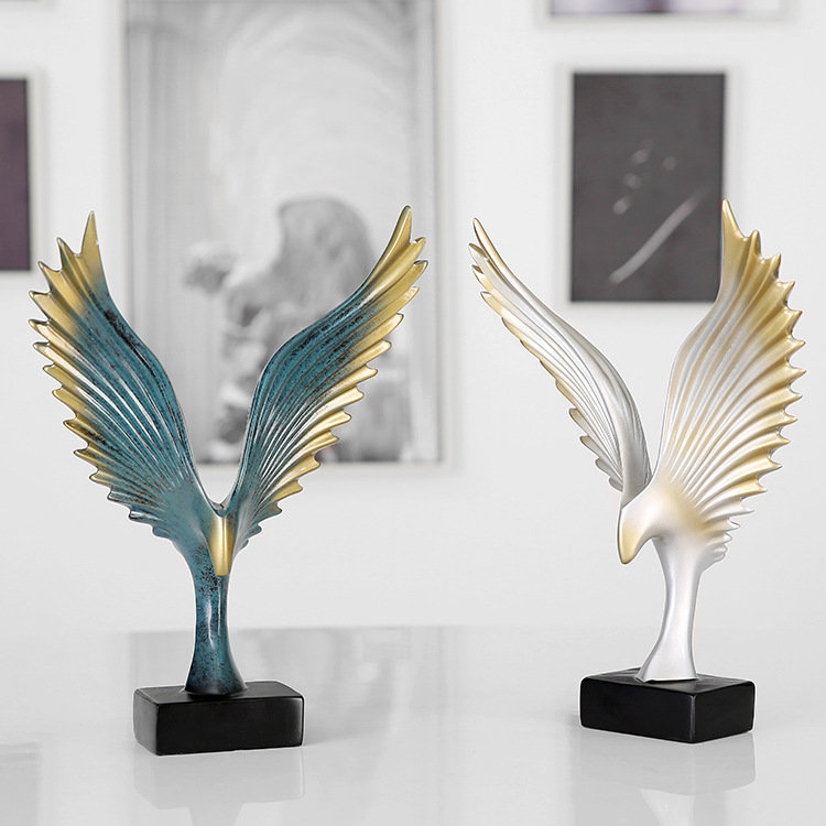 Creative Beautiful Wings Desk Ornament Resin Novelty Blue White Home Decoration Craft Idea Gift
