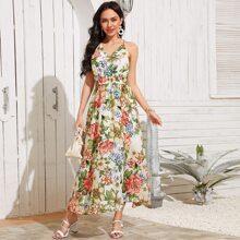 Rueckenfreies Cami Kleid mit Raffung Detail und Blumen Muster