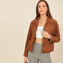 Collared Drop Shoulder Buttoned Front Suede Jacket