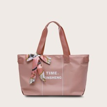 Twilly Scarf Decor Letter Graphic Tote Bag