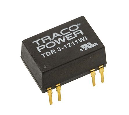 TRACOPOWER TDR 3WI 3W Isolated DC-DC Converter Through Hole, Voltage in 4.5 → 18 V dc, Voltage out 5V dc