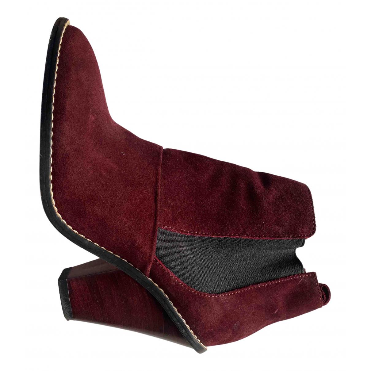 Vanessa Bruno Athe \N Stiefel in  Bordeauxrot Veloursleder