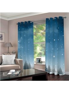 3D High-quality Blackout Fashion Curtain with Snow and Cedar Image
