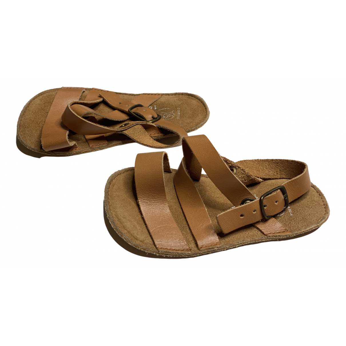 Bonpoint N Brown Leather Sandals for Kids 18 FR